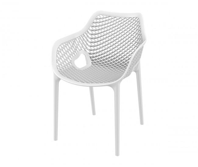Полипропиленов градински стол Еър XL, подлакътници - бял