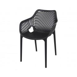 Полипропиленов градински стол Еър XL, подлакътници - черен
