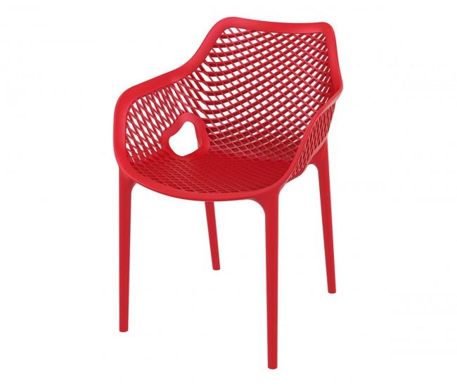 Полипропиленов градински стол Еър XL, подлакътници - червен