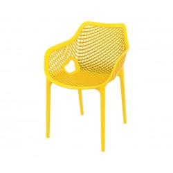 Полипропиленов градински стол Еър XL, подлакътници - жълт
