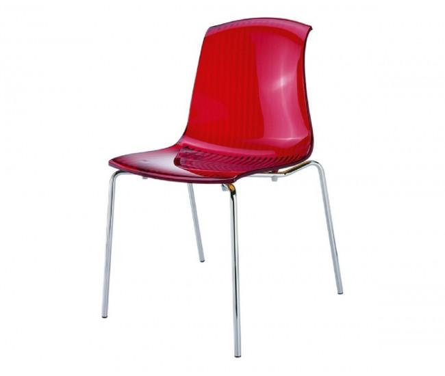 Градински стол Алегра, поликарбонат - червен прозрачен