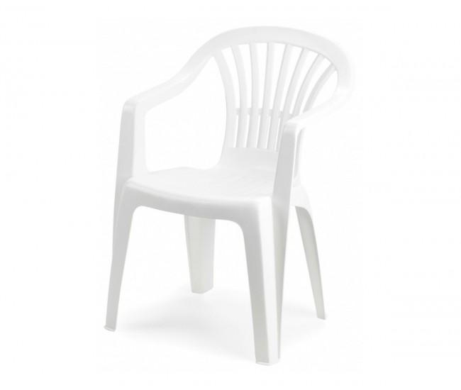 Пластмасов градински стол с подлакътници Алтея - бял