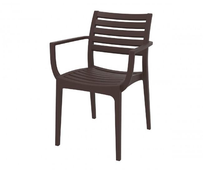 Полипропиленов градински стол Артемис, подлакътници - кафяв