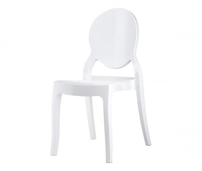 Градински стол Елизабет, поликарбонат - бял