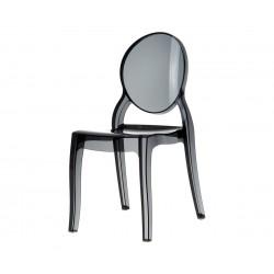 Градински стол Елизабет, поликарбонат - черен прозрачен