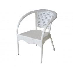 Ратанов градински стол 220 с подлакътници, полипропилен - бял