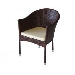 Ратанов градински стол с възглавница 350, подлакътници, полипропилен - кафяв