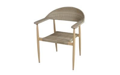 Ратанов градински стол 390 с подлакътници, полипропилен - бежов