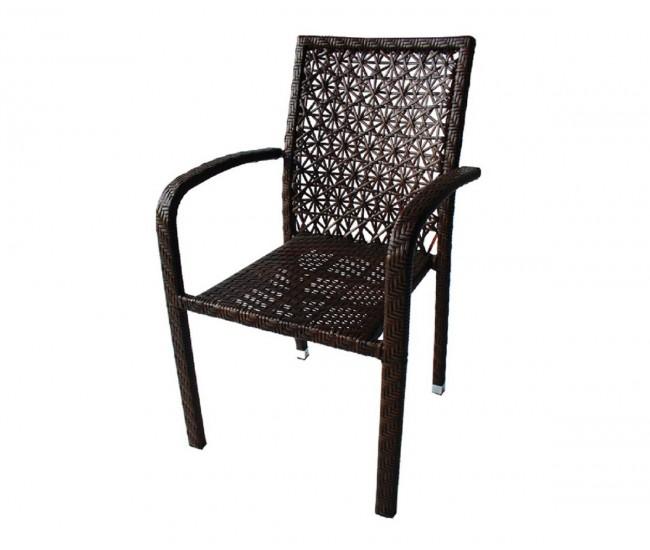 Ратанов градински стол 59-2 с подлакътници, полипропилен - кафяв
