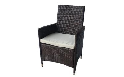 Ратаново градинско кресло 651 с възглавничка, полипропилен - кафяв