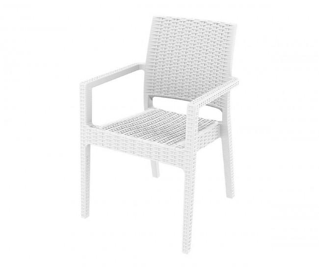 Ратанов градински стол Ибиза с подлакътници, полипропилен - бял