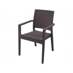 Ратанов градински стол Ибиза с подлакътници, полипропилен - кафяв