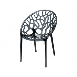 Градински стол Кристал, поликарбонат - черен прозрачен