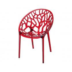 Градински стол Кристал, поликарбонат - червен прозрачен