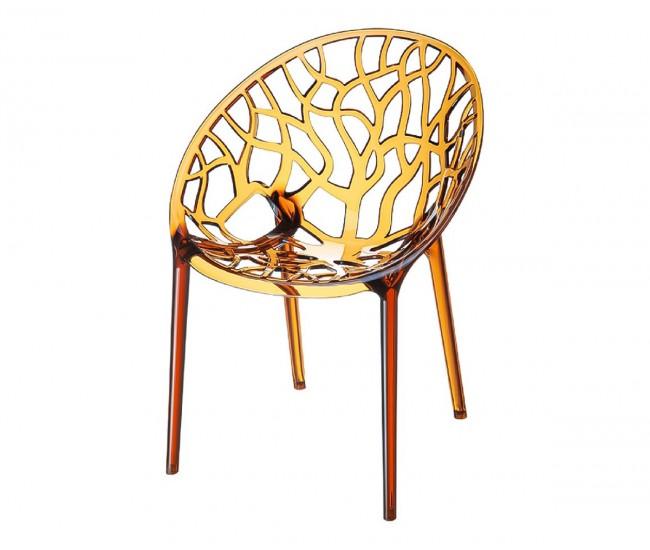 Градински стол Кристал, поликарбонат - кехлибар прозрачен