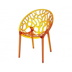 Градински стол Кристал, поликарбонат - оранжев прозрачен