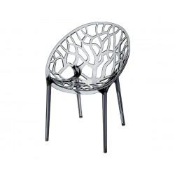 Градински стол Кристал, поликарбонат - сив прозрачен