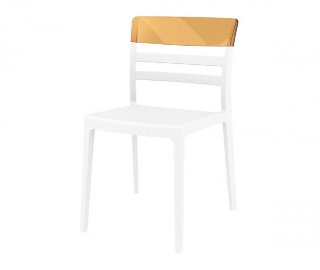 Градински стол Луна, полипропилен, поликарбонат - бял / кехлибар прозрачен