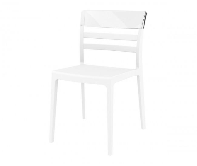 Градински стол Луна, полипропилен, поликарбонат - бял / прозрачен