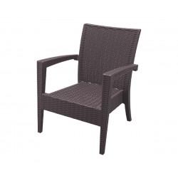Ратаново градинско кресло Маями с подлакътници, полипропилен - кафяв