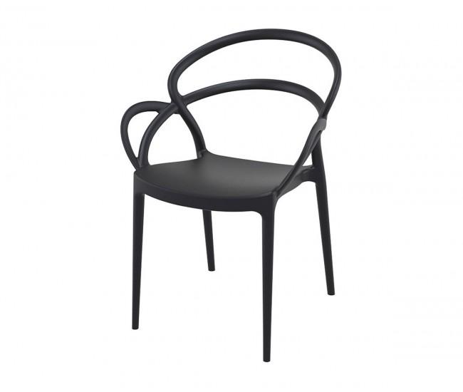 Полипропиленов градински стол Мила - черен