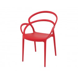 Полипропиленов градински стол Мила - червен