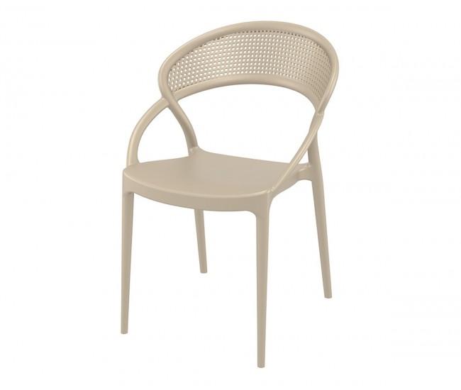 Полипропиленов градински стол Сънсет - бежов