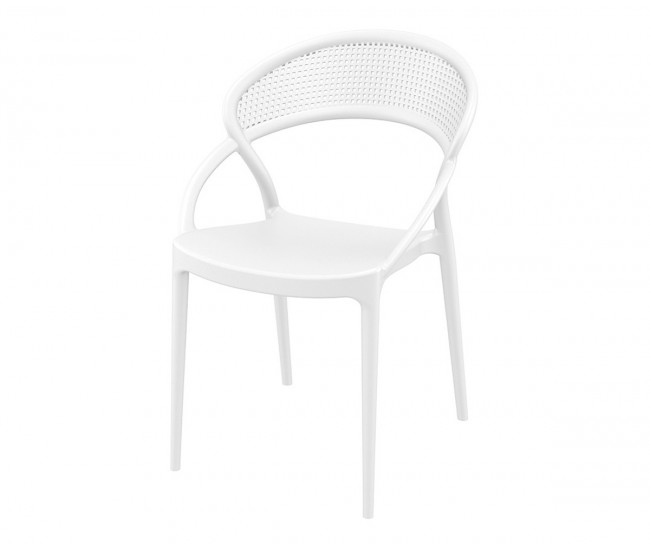 Полипропиленов градински стол Сънсет - бял
