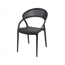 Полипропиленов градински стол Сънсет - черен