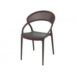 Полипропиленов градински стол Сънсет - кафяв