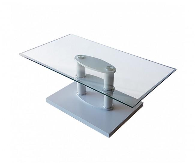 Холна маса MDF D-671 бял / стъкло