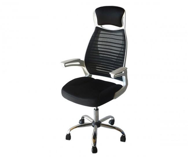 Лумбален работен офис стол 907 с подлакътници, черна мрежа / бял гръб