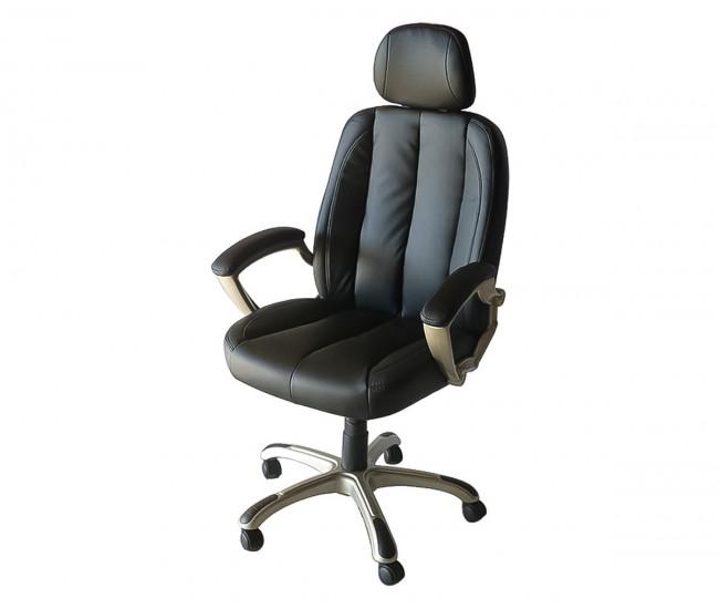 Ергономичен работен офис стол 063 с подлакътници, еко кожа - черен