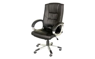 Ергономичен работен офис стол 645 с подлакътници, еко кожа - черен
