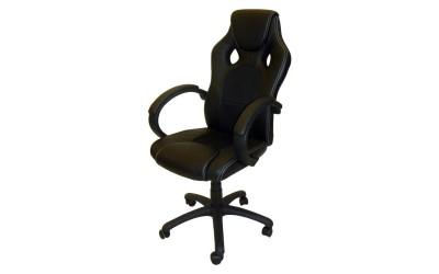 Ергономичен работен офис стол 8520 с подлакътници, еко кожа с мрежа - черен