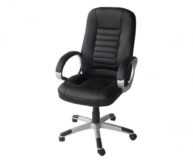 Работен офис стол 8528 с подлакътници, еко кожа - черен