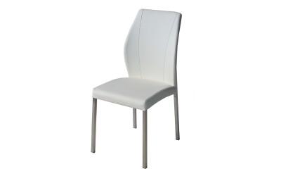 Тапициран трапезен стол AM-381, еко кожа - бял