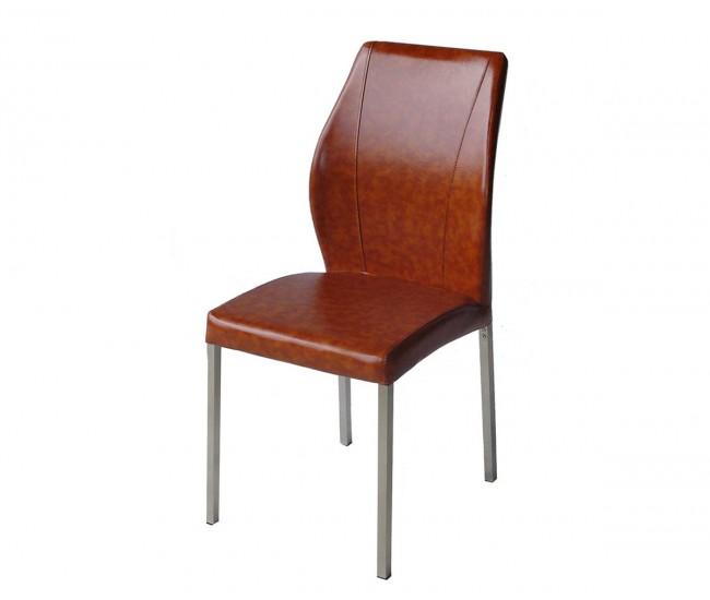 Тапициран трапезен стол AM-381, еко кожа - светлокафяв