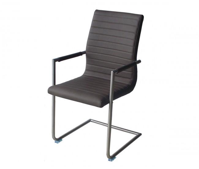 Тапициран трапезен стол с подлакътници AM 749, еко кожа - сив