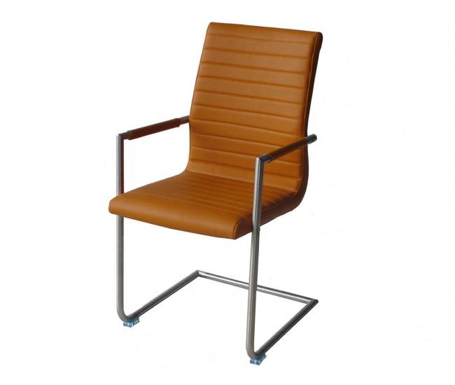 Тапициран трапезен стол с подлакътници AM 749, еко кожа - светлокафяв