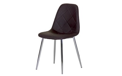 Тапициран трапезен стол AM-A-293, еко кожа - кафяв