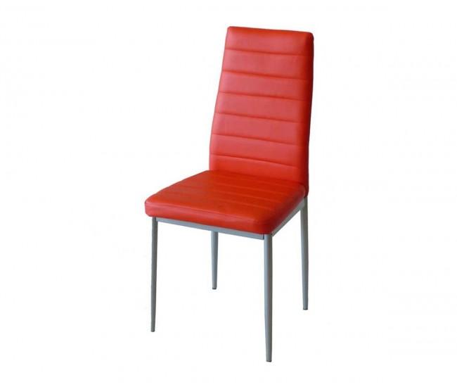 Тапициран трапезен стол АМ-С170, еко кожа - червен