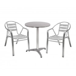 Градински хромиран комплект HM10461 - кръгла маса и два стола