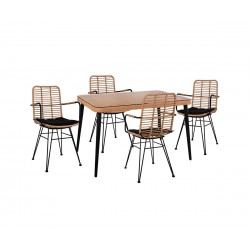 Градински комплект Allegra Wicker HM10487 - маса и четири стола