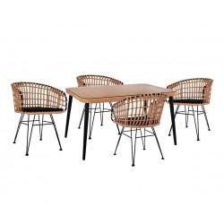 Градински комплект Allegra Wicker HM10488 - маса и четири стола