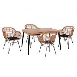 Градински комплект Allegra Wicker HM10490 - маса и четири стола