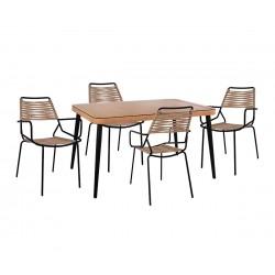 Градински комплект Allegra Wicker HM10493 - маса и четири стола