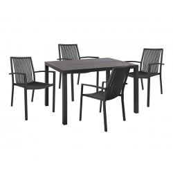 Градински алуминиев комплект HM10510 - маса и четири стола