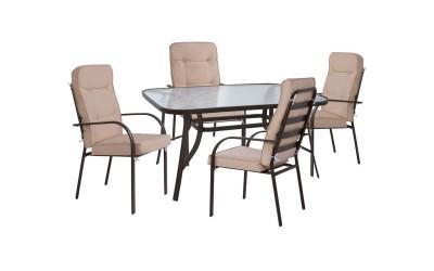 Градински комплект HM10562.02 - маса и четири стола с възглавници