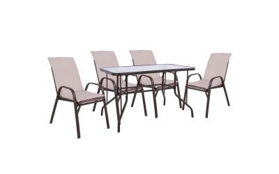 Градински комплект HM10566.02 - маса и четири стола с възглавници